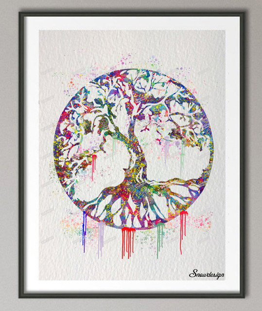 DIY Original Watercolor Round Tree Of Life Canvas Painting Wall Art Poster  Print Home Decoration Pictures