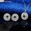 Женщины Подарки Ювелирные изделия Высокого Качества Platinum Покрытием Полный Инкрустация CZ Создания Алмазный Зеленый Кристалл Серьги Стержня Устанавливает JS203