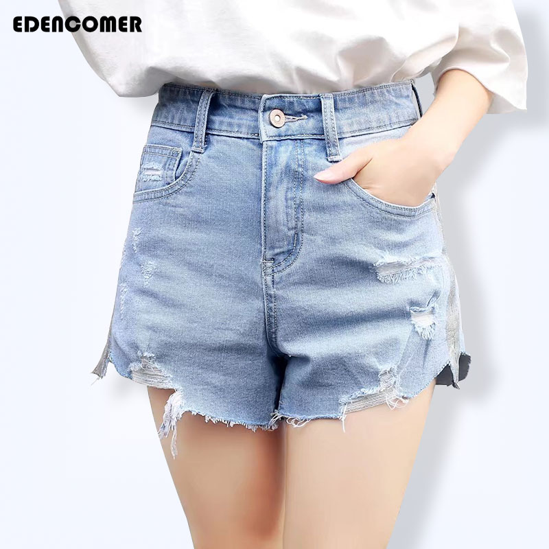 Plus Size Women's Jeans Shorts Korean Ripped Hole High Waist Side Stripe Female Short Jeans 2017 Summer 5XL 6XL Denim Short Pant