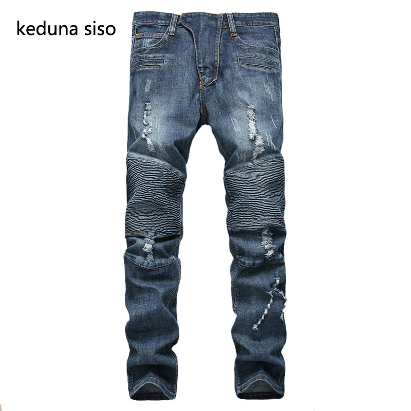 2016 New Fashion Stretch Jeans Mens Famous Brand Ripped Jeans For Men Elastic Designer Biker Blue Denim Jeans Male Pants famous brand mens jeans straight ripped biker jeans for men zipper denim overalls men fashion designer pants blue jeans homme