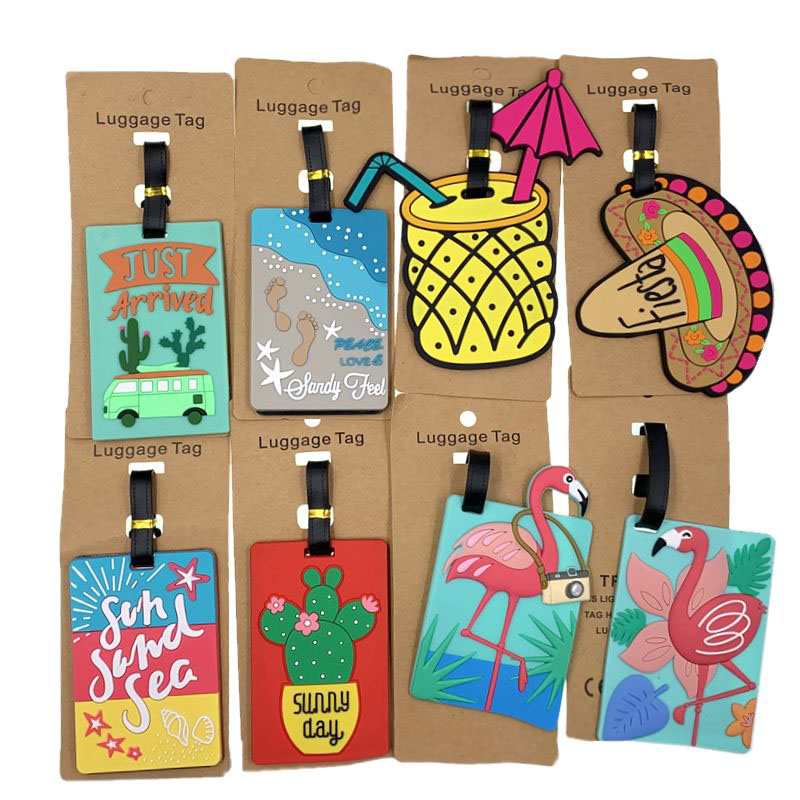 Cartoon Flamingo Cactus Luggage Tags Travel Accessories Silica Gel Suitcase ID Addres Holder Baggage Boarding Portable Label