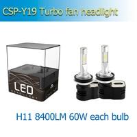 1 set 60w 8400lm CSP Y19 T5 Auto LED HeadLight Kit Bulb H4 H7 H8 H9 H10 H11 9005 HB3 9006 HB4 9012 Car LED Lamps with turbo fan