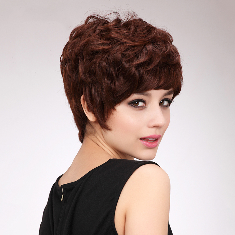 Блондинка Единорог 6 дюймов прямые короткие Для женщин парики волос коричневый Многослойные пышные леди парик синтетический парик с 50% чело...