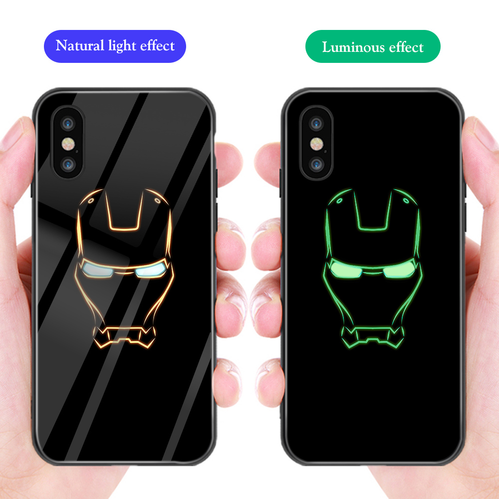 ciciber Luxury Phone Case for iphone 11 Pro Max XR X XS Max Marvel Avenger Luminous Glass Cover for iphone 7 6 8 6S Plus Funda in Fitted Cases from Cellphones Telecommunications