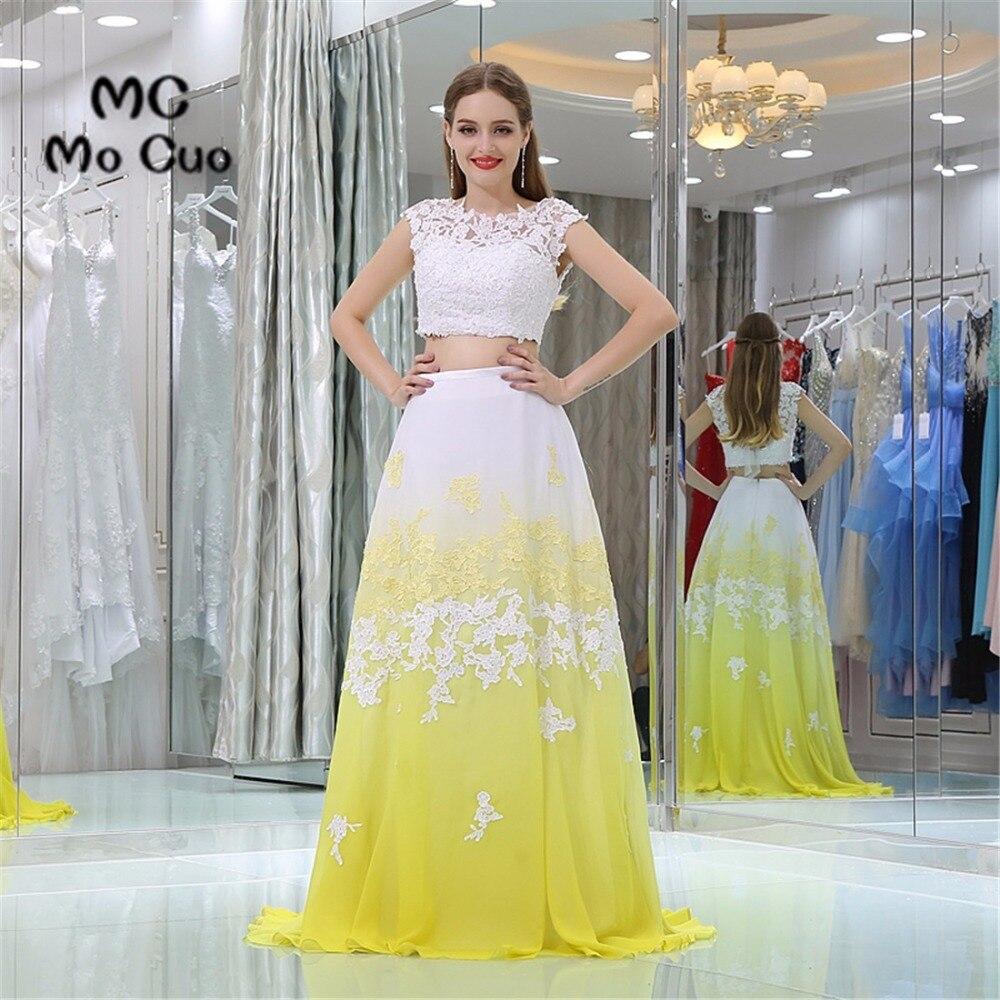Deux pièces robe dentelle soirée robes de bal longue Appliques Cap manches dos nu Vestidos de fiesta formelle en mousseline de soie robe de soirée