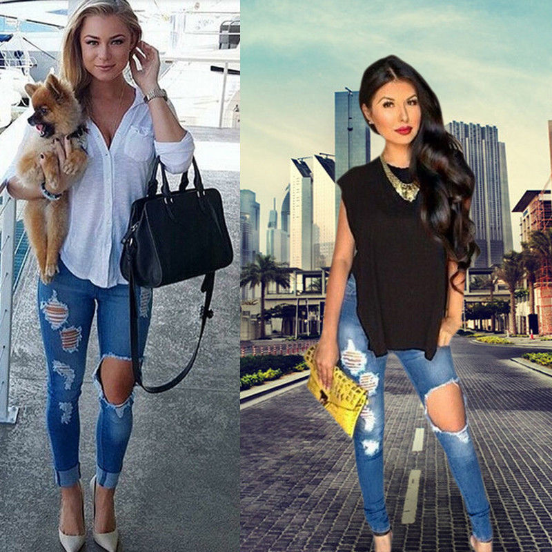 2016 New Ripped Jeans Women Denim Pants Holes High Waist Casual Trousers Pencil Pants Destroyed Torn Jeans for Women19 skinny jeans women denim pants holes destroyed knee pencil pants casual trousers white stretch ripped jeans top007 w