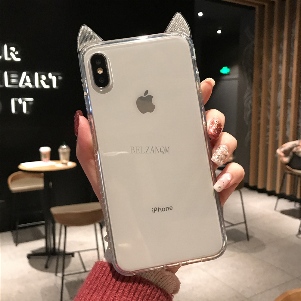 Phone Cases For iPhone 6 6s 7 8 Plus Luxury Bling Diamond Cute Cat Ears Clear Soft TPU Coque For iPhone X Xs Max XR Cover Fundas _10