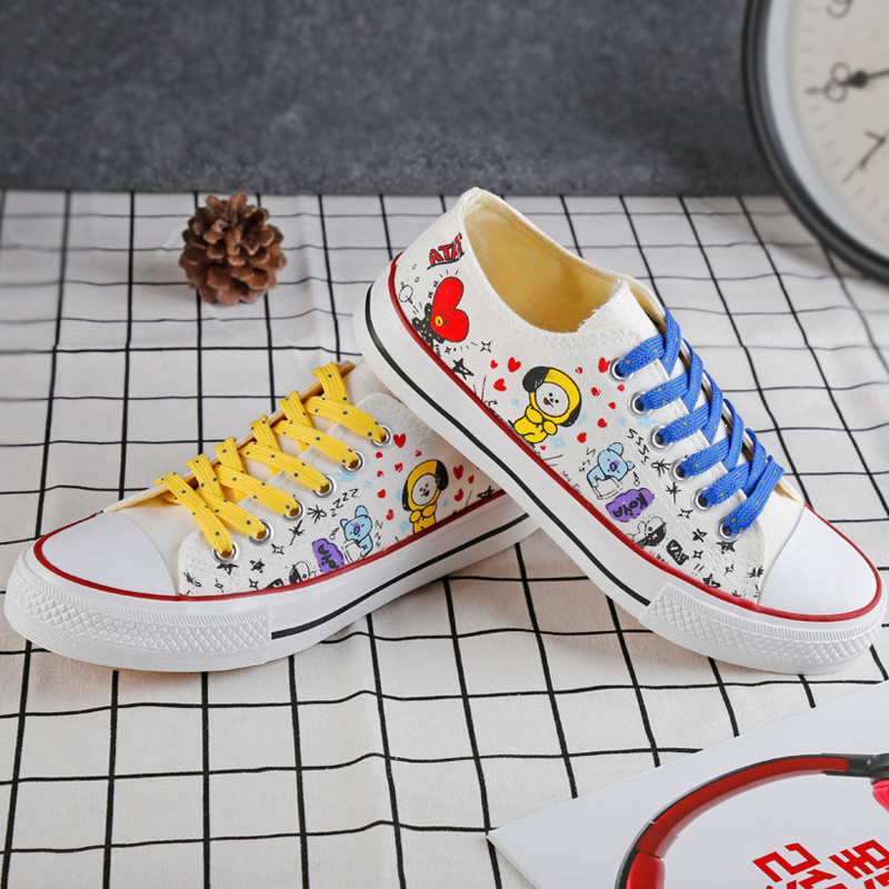 KPOP BTS Bangtan Boys BT21 Cosplay Line Friends Low Top Shoes JUNG KOOK JIMIN V Suga Women Girl Casual Breathable Printing Shoes