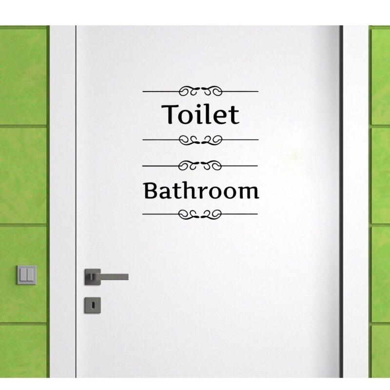 Письмо знак стены стикеры Съемный Декор стен наклейка двери наклейки для туалета Ванная комната Туалет WC украшения дома