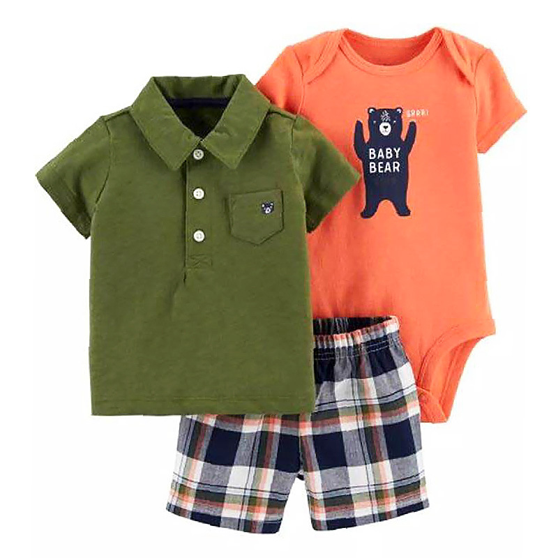 Newborn Infant Toddler Baby Boy Clothes Animal Bodysuits Tshirt Pants  3pcs Outfits Casual Set