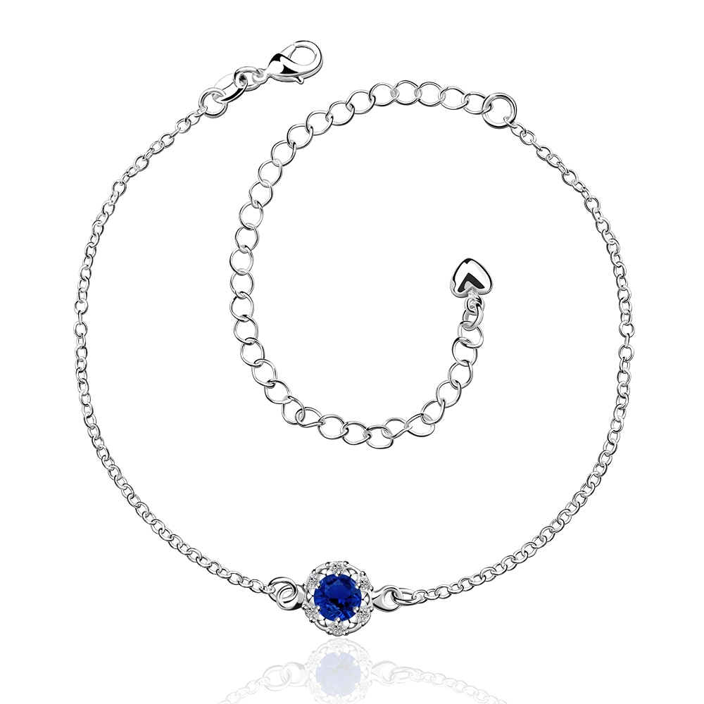 A033 B crystal 925 Delicate Rhinestone Cheap Silver Plated Anklet Bracelet Bulk Sale tobillera peuga