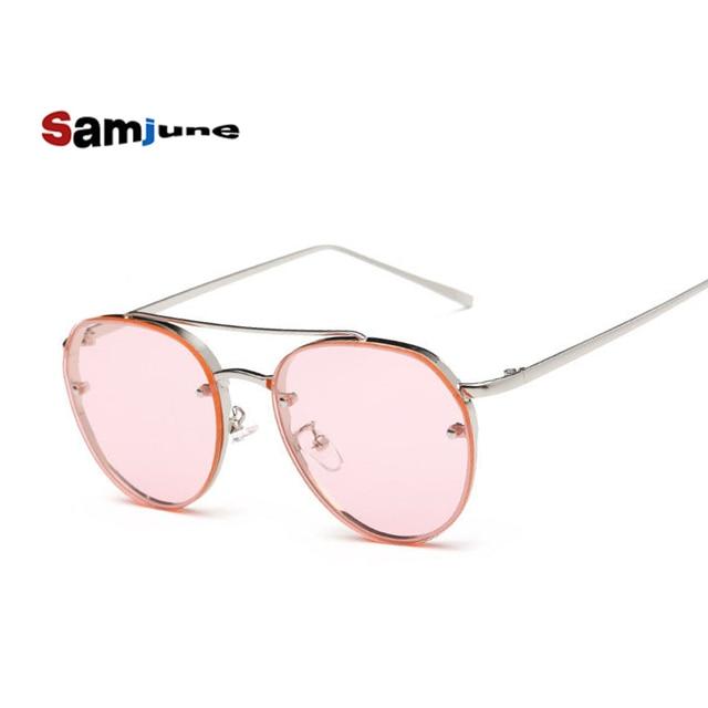 ac565f75d8a0 Samjune 2017 Clear Lens Round Sunglasses Women Men Vintage Double Beam  Rimless Mirror Sun Glasses Female Ladies UV400