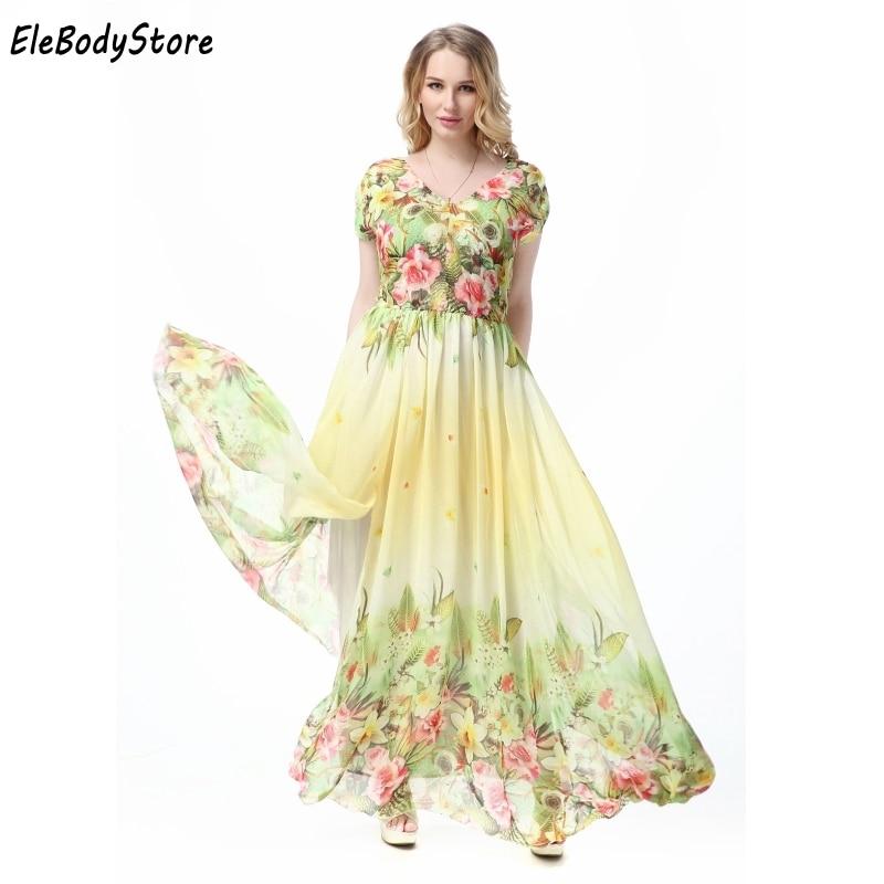 Maxi Dress 2018 5XL 6XL 7XL Vestidos Women Casual V Neck Floral Print Holiday Summer Elegant Woman Long Dresses Plus Size
