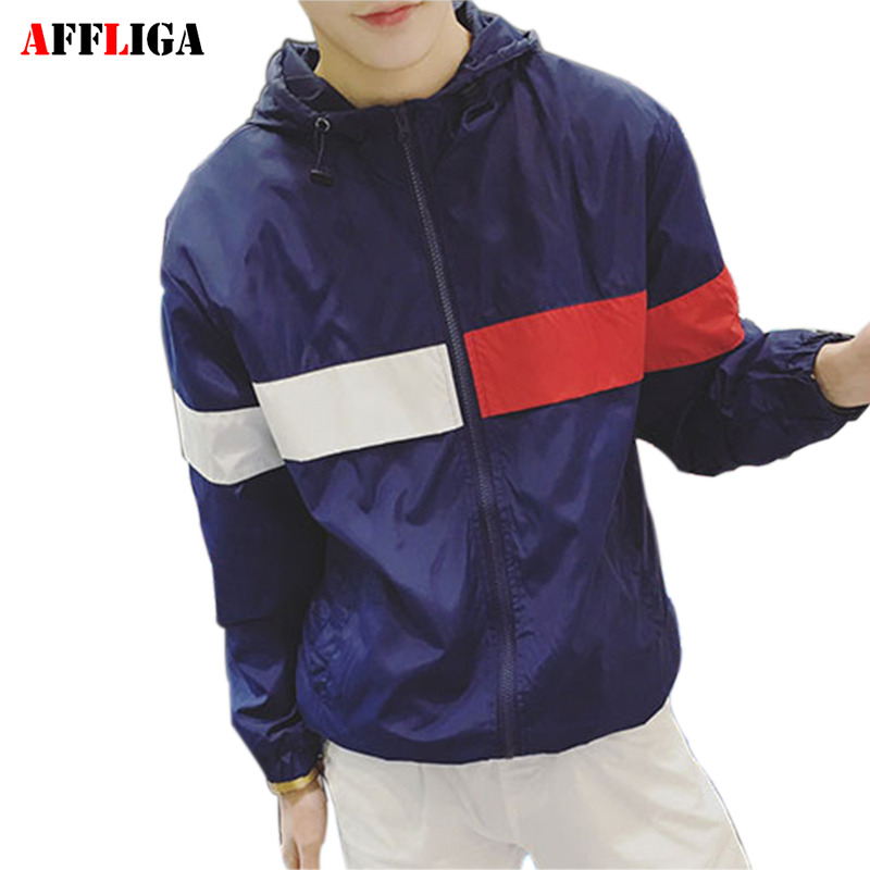 AFFLIGA Men New Jacket Spring Autumn Fashion Hiphop Hooded Jacket Hip Hop Waterproof Windbreaker Men Thin