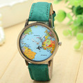 Women Dress Watches New Global Travel By Plane Map Women Dress Watch Denim Fabric Band Women clock relogio feminino 7Colors
