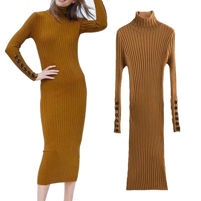 3b12ef52c031 Detail Feedback Questions about 2018 Winter Turtleneck Knit Sweater Dress  Women Long Sleeved Skinny Midi Dress Black vestidos Lady Elegant Party Wear  on ...