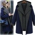 Женская кашемировые пальто продвижение 2015 новый шерстяное пальто женщина зимой пальто твердые одежда шерстяное пальто женщина долго верхней одежды