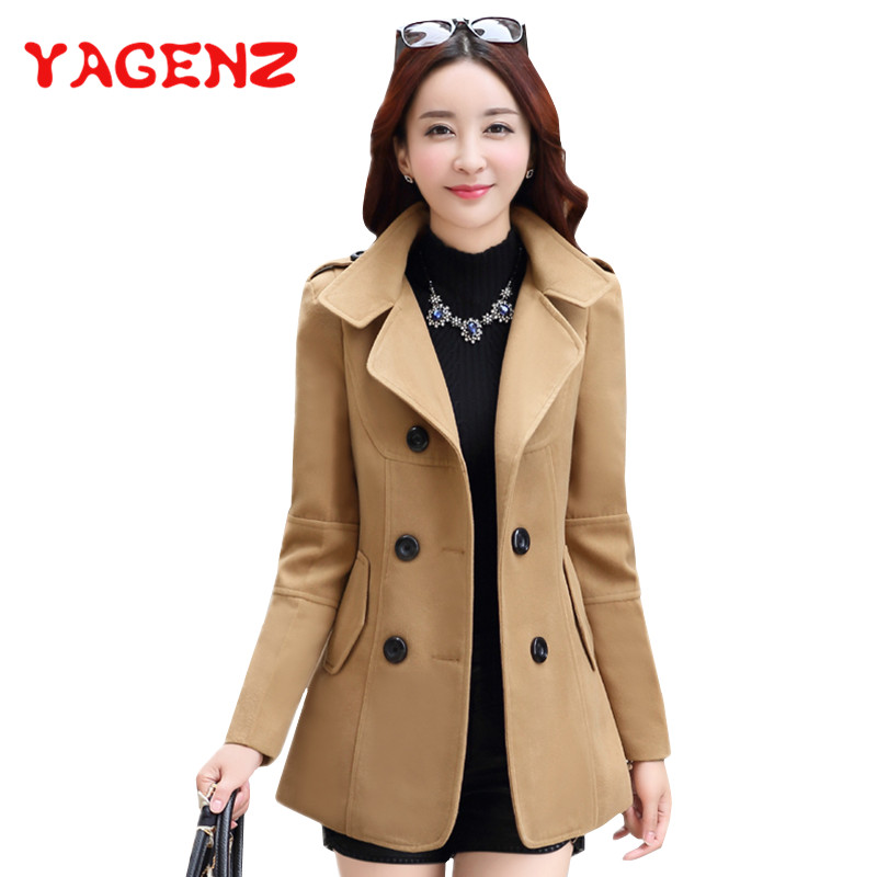 YAGENZ 2019 Winter Clothes Short Wool Coat Women Coat Korean Autumn Woolen Coat Fashion Double-breasted Jacket Elegant Blend 77