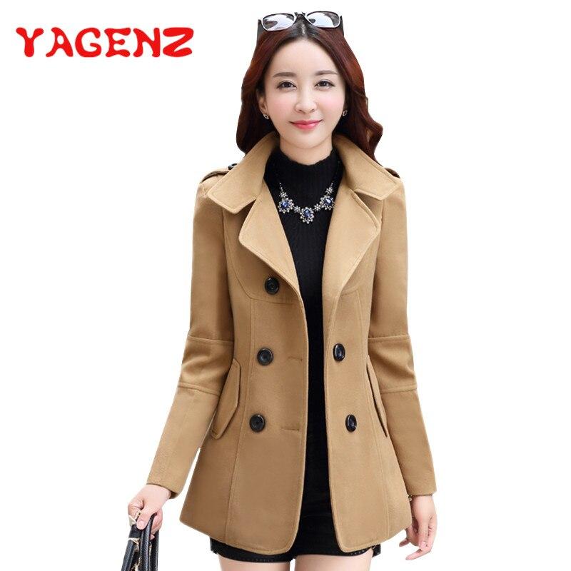YAGENZ 2019 Winter Clothes Short Wool Coat Women Coat Korean Autumn Woolen Coat Fashion Double-breasted Jacket Elegant Blend 77
