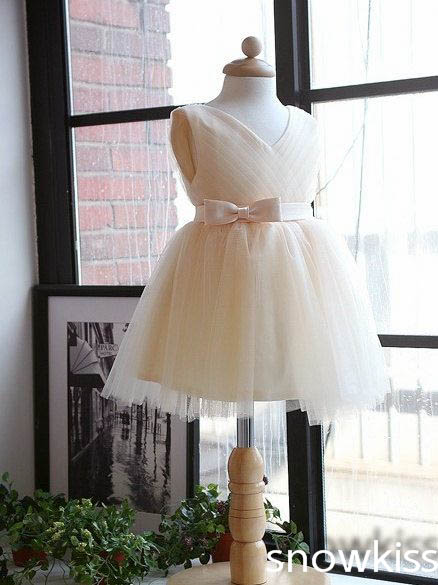 Fashion V-neck flower girl dress tulle knee-length short kid prom party frocks dress birthday gown junior bridesmaid for wedding