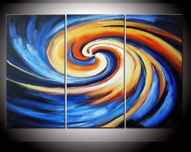 hand-painted The Beautiful spiral High Q. Wall Decor Modern Landscape Oil Painting on canvas 10x20inch 3pcs/set mixorde Framed