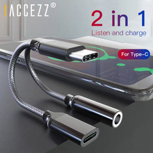 !ACCEZZ Type C to Type-C 3.5mm AUX Adapter Charging Listening Calling Connector For Huawei Mate 20 Samsung Xiaomi LG Audio Cable