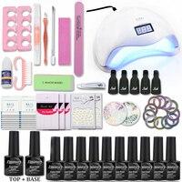 Nail Set with 48/40/6W UV Led Lamp10 Color Nail Gel Polish Acrylic Nail Kit Base &Top Coat Gel Varnish Manicure Tools Set