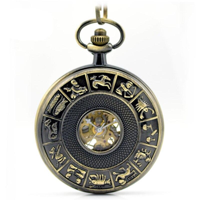 Relógio de Bolso Retro Esqueleto Automático Mecânico Relógio Masculino Vintage Mão Vento Colar Doze Constelações Presente Oco