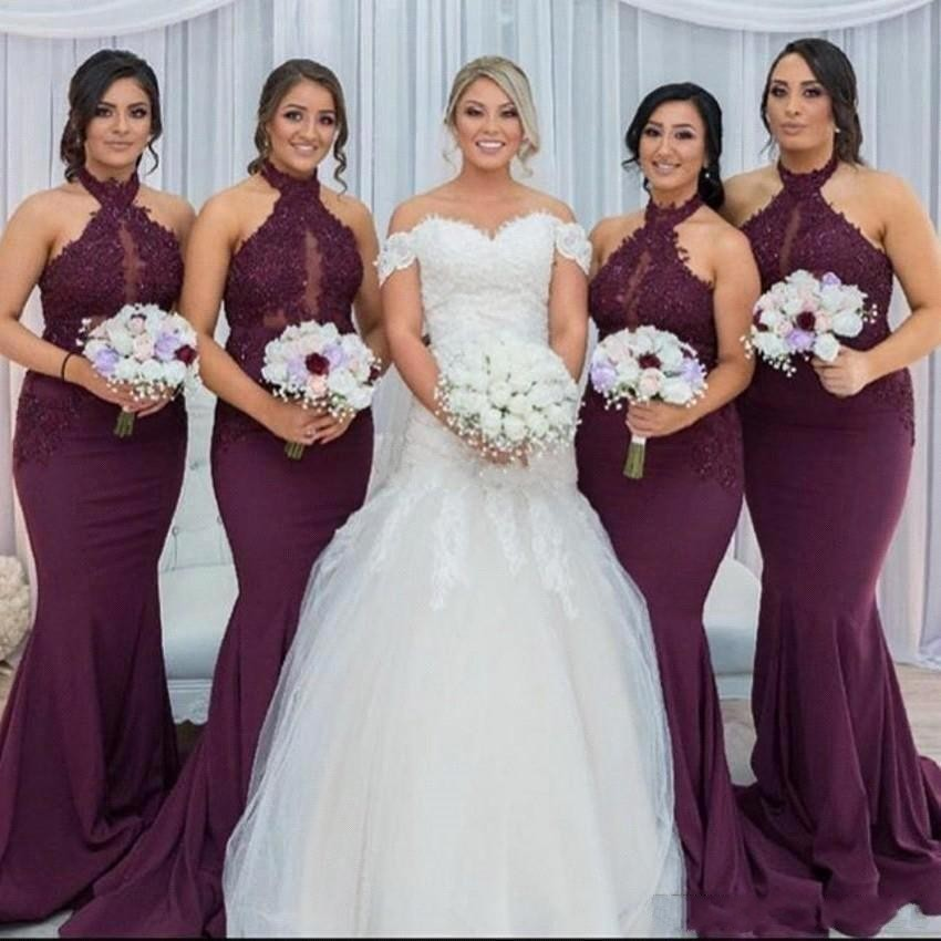 Sexy Halter Mermaid Grape Purple Bridesmaid Dresses Long 2019 Beaded Appliques Prom Dress For Wedding Party Vestido de Feista(China)