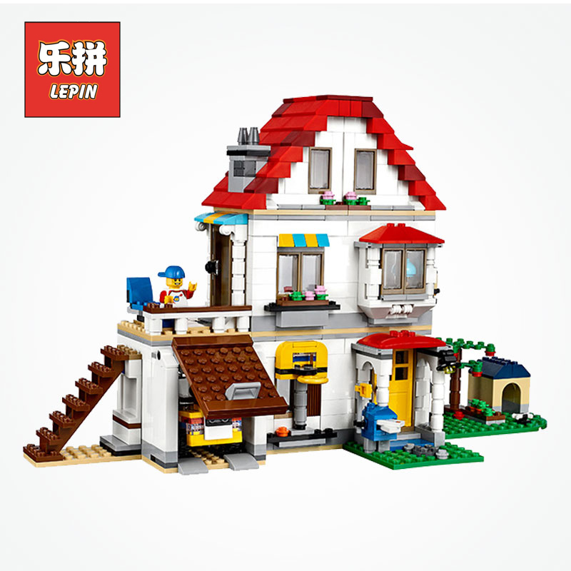 Lepin 24046 City the American Style Family Villa House Set Model Building Blocks Compatible 31069 Educational Kids Creative Toys
