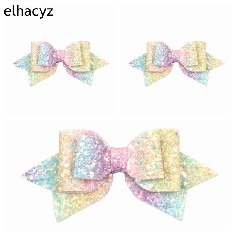 5'' New Bowknot Hair Accessories Hairpin Clips Glitter Lolita Rainbow Hair Bows Tie Party DIY   Headwear   Cute Girls Barrette