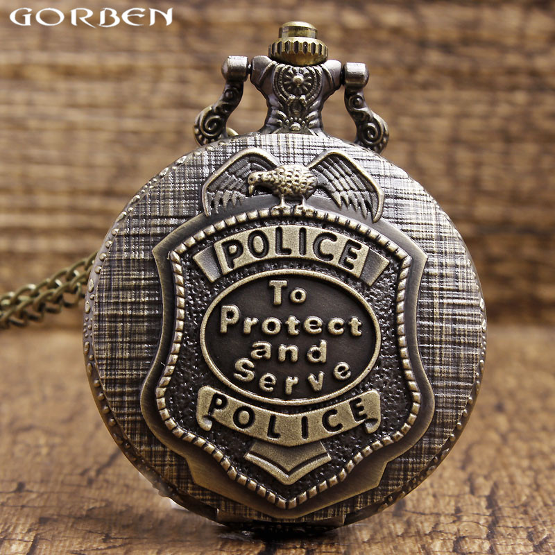 2017 New Arrival Quartz Pocket Watch The Police To Protect And Serve Pattern Necklace Pendant Sculpture Mens Watches With Chain