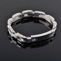 Fashion Stainless Steel Excellent Quality Pink Black Rhinestone Ash Holder Bracelet Wholesale