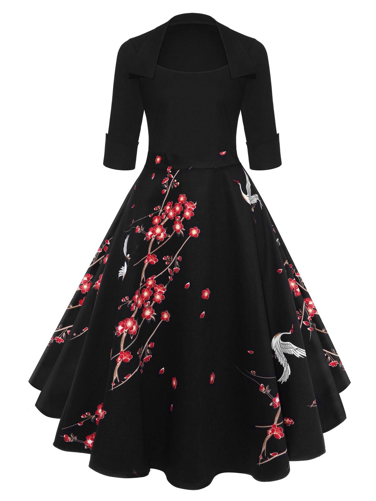 67e9b635cb9c4 US $18.53 40% OFF|AZULINA Audrey Hepburn Vintage Party Dress Women Floral  Flare Midi Dresses Winter Autumn Retro Elegant Dress Vestidos Robe Femme-in  ...