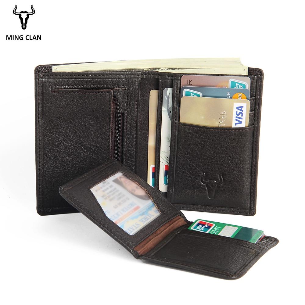 Luxury 100% Genuine Leather Wallet Fashion Short Bifold Men Wallet Casual Soild Men Wallets With Coin Pocket Purses Male