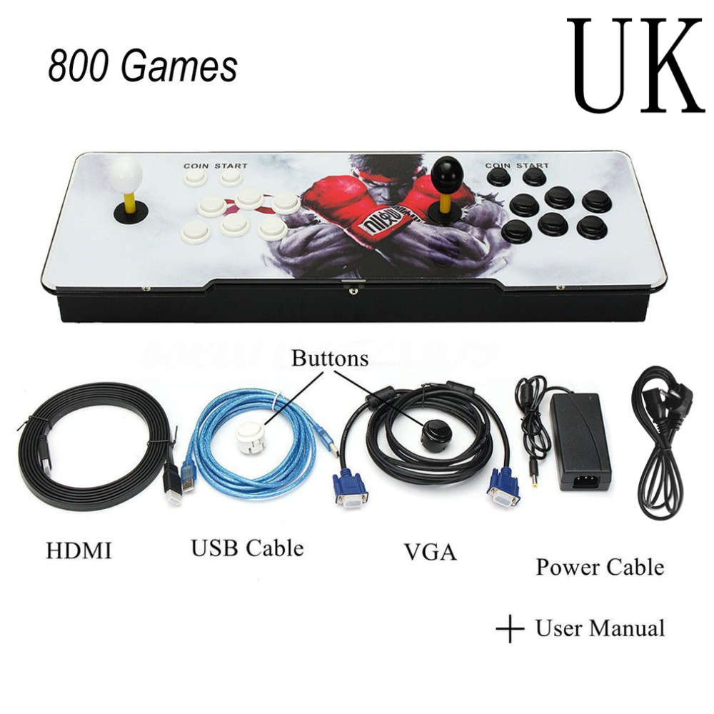 UK 800 Games Home Multiplayer Arcade Game Console Kit Set Double Joystick HDMI VGA Interface Console With Pause Function