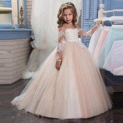 Champanhe romântico Puffy Lace Manga Comprida Vestido Da Menina de Flor para Casamentos Organza Party Girl Vestido de Baile Comunhão Vestido Pageant