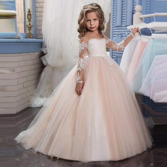 Romantic Champagne Puffy Lace Long Sleeve Flower Girl Dress for Weddings Organza Ball Gown Party Communion Pageant