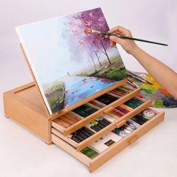 Caballete de madera para Pintura, Caballete de dibujo para Pintura, cajón de ordenador portátil, Caballete de escritorio en caja, suministros de arte para artistas