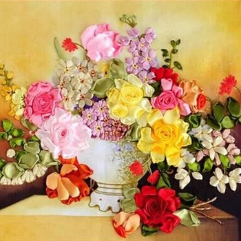 تزهر زهرة زهرية قماش اللوحة الحرير الحرير الشريط التطريز 3d عبر الابره عدة التطريز الحرفية هدية diy الرئيسية الحائط دي