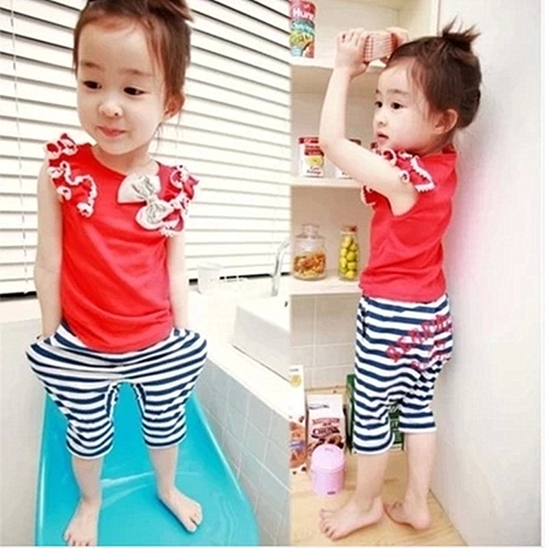 Anlencool 2017 Free shipping summer children cotton stripe casual wear brand baby girl clothes sets newborn baby clothes