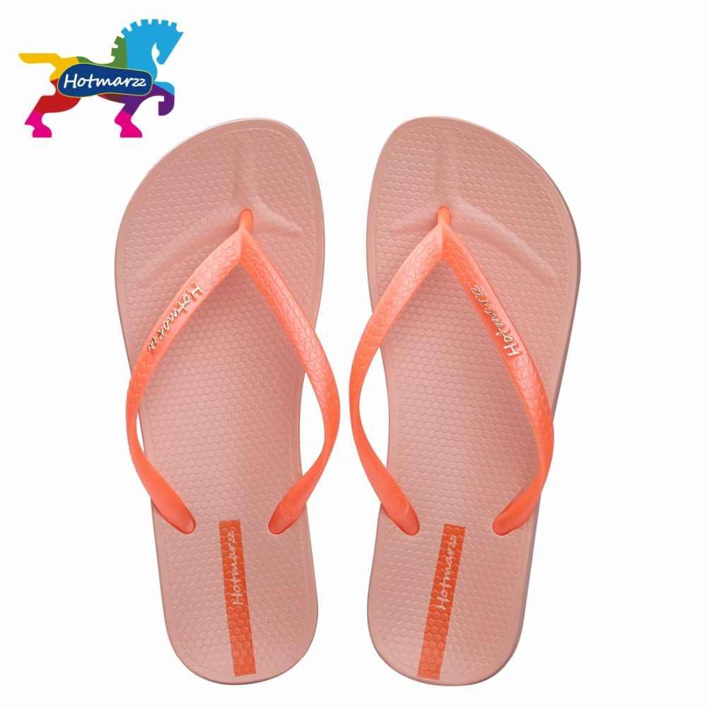 Hotmarzz Brand Designer Sandals Flip Flops Women Casual Flat Slippers Solid Color Fashion Beach Slides Women HM0738