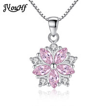 JYouHF Crystal Necklace Women Fashion Luxury White Pink Cubic Zirconia Necklaces Pendants Long Chain Silver 925 Jewelry Sieraden(China)