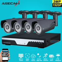 Super 3MP Full HD 4 Channel 1920P Surveillance Camera Kit Gray Metal Bullet Outdoor Security Camera