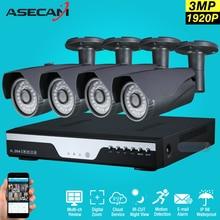 Super 3MP Full HD 4 Kanal 1920 P Überwachungskamera kit grau Metall Kugel Outdoor-überwachungskamera 4CH DVR CCTV-System p2p