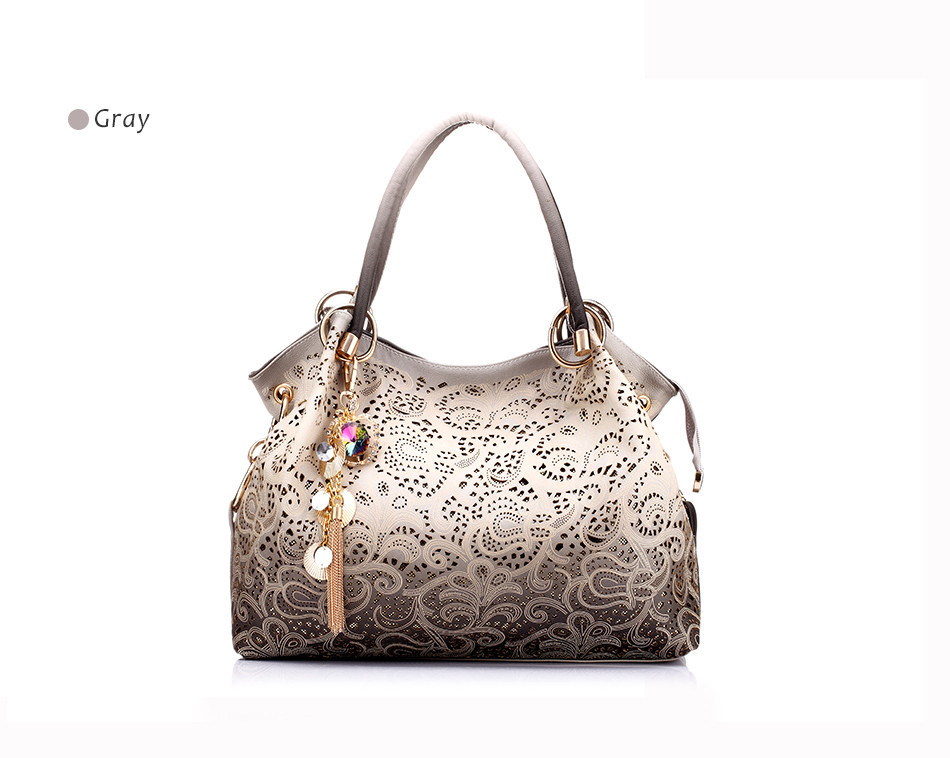women handbags hollow out ombre floral print shoulder