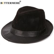 BUTTERMERE Wide Brim Fedora For Men Black Trilby Hat Male Genuine Leather Casual Jazz Caps Autumn Winter Fashion Pork Pie Hats