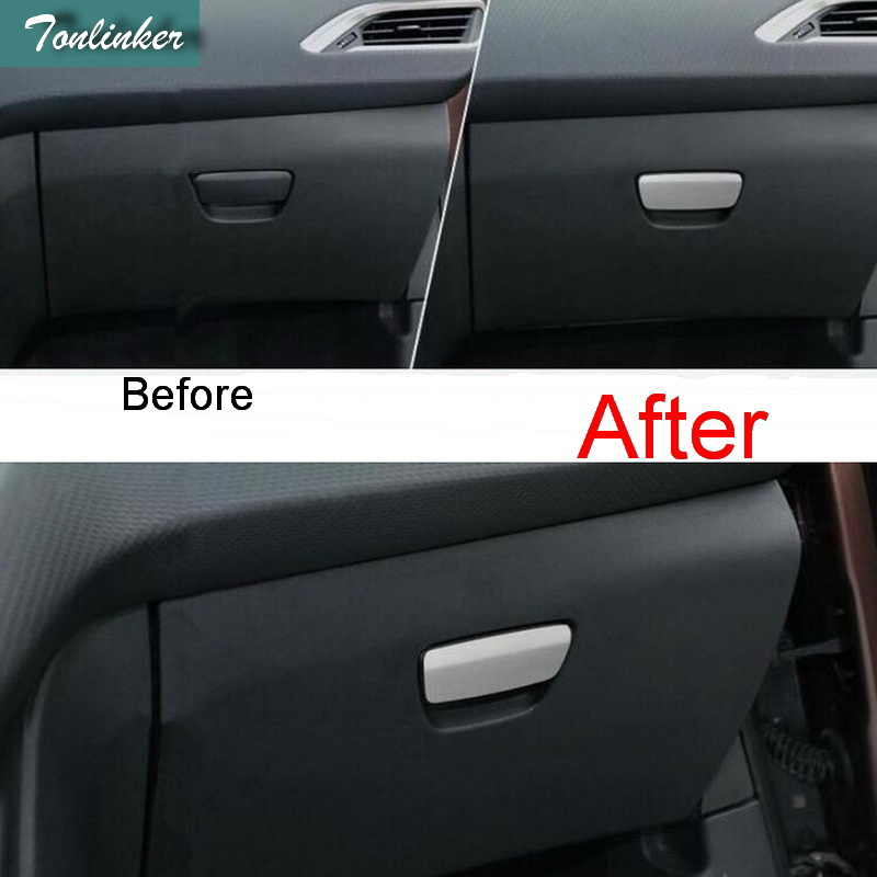 Tonlinker 1 Pcs DIY Car Styling Stainless Steel The Glove Box Handle Light Cover Case Stickers for Peugeot 2008 2014 Accessories