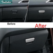 Tonlinker 1 Pcs DIY Car Styling Stainless Steel The Glove Box Handle Light Cover Case Stickers