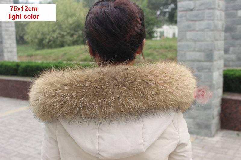 Vinter Äkta Real Natural Raccoon Fur Collar & Women Scarfs Fashion - Kläder tillbehör - Foto 5